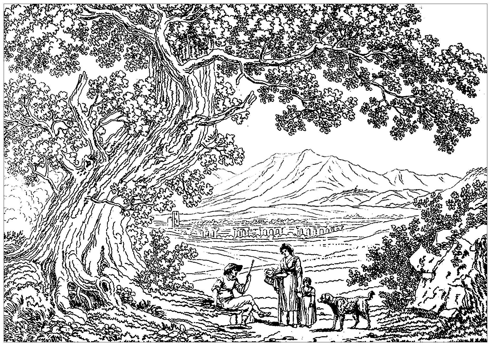 Italy Landscape Philippe Hackert Landscapes Coloring Pages For