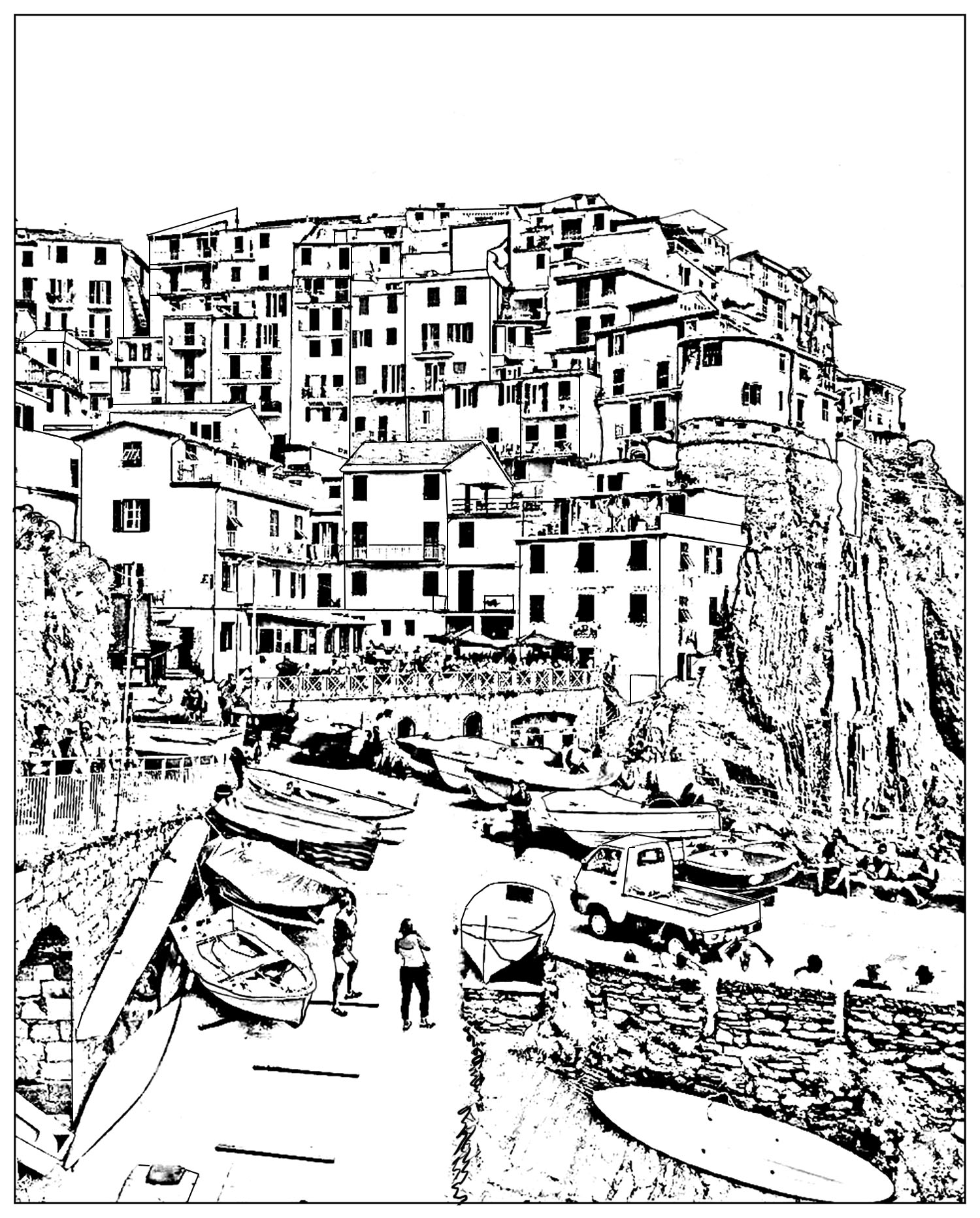 Italy Cinque Terre Landscapes Adult Coloring Pages