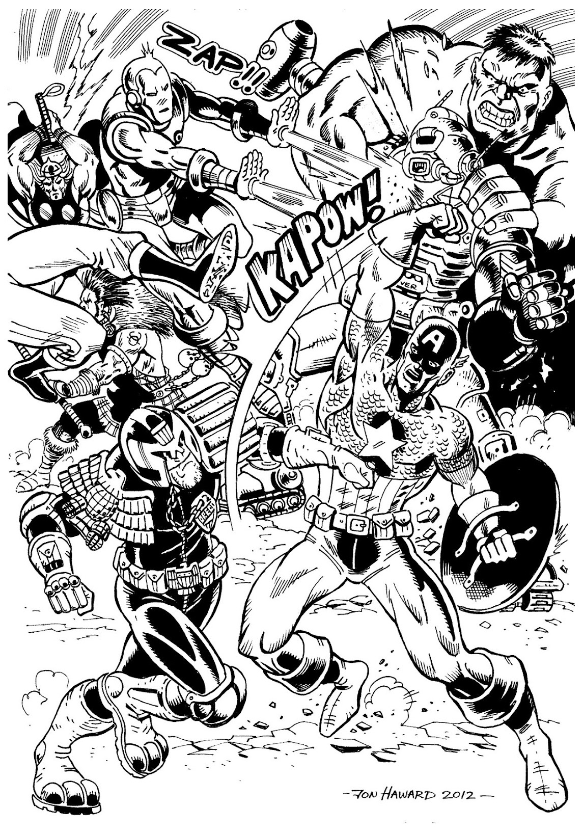 Avengers Battle Books Adult Coloring Pages