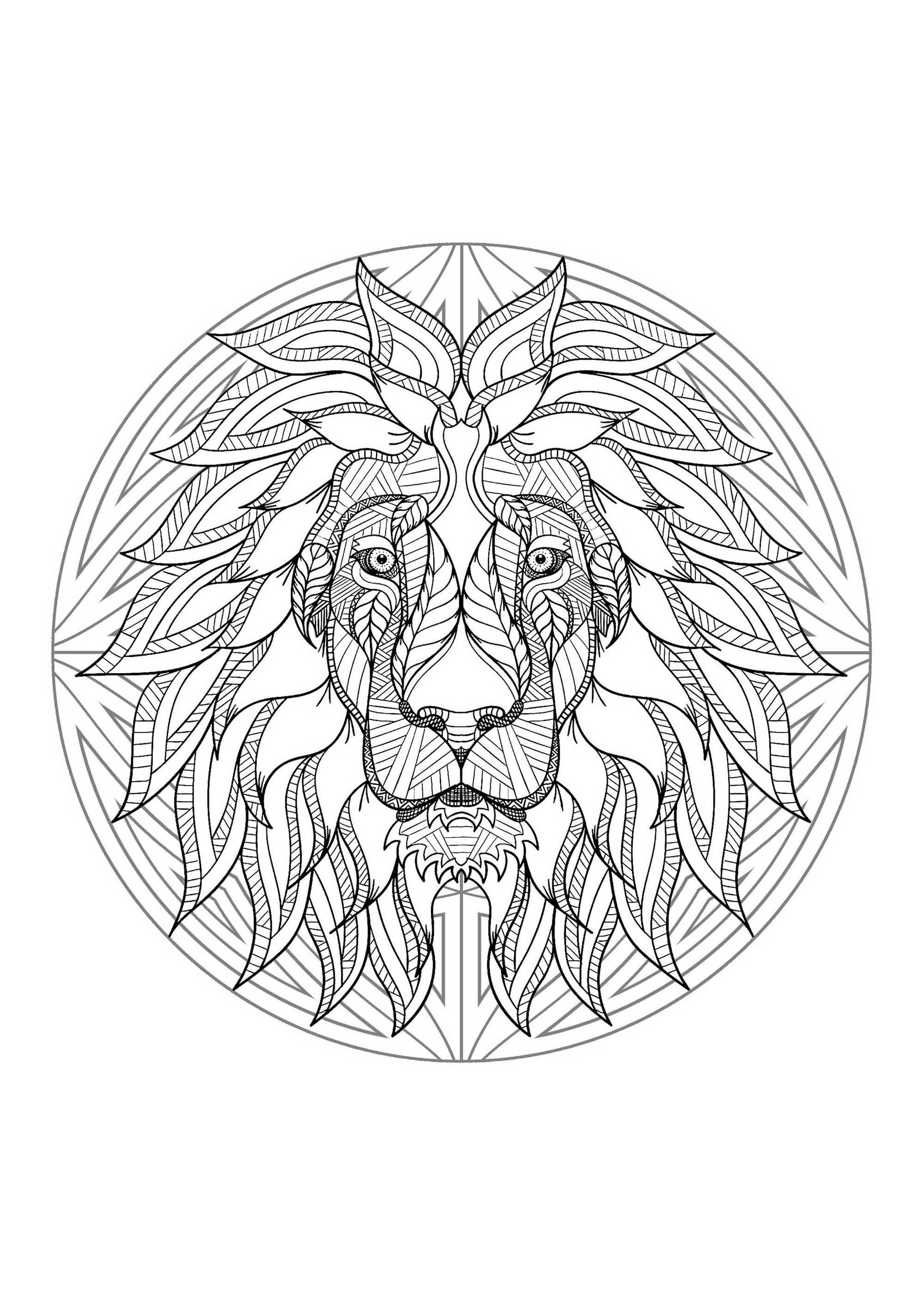 Mandala With Beautiful Lion Head And Geometric Patterns