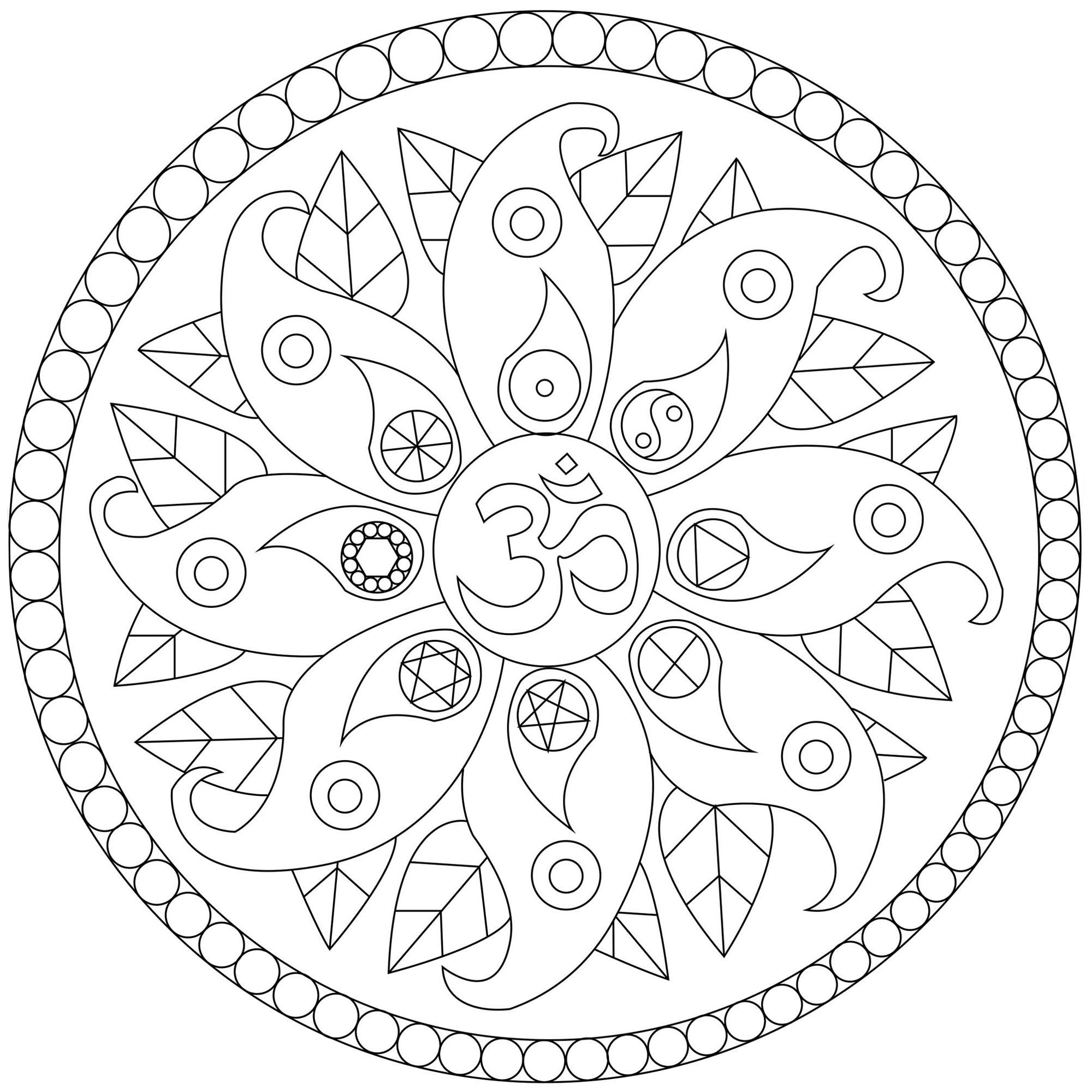 Mandala With Peace Symbols
