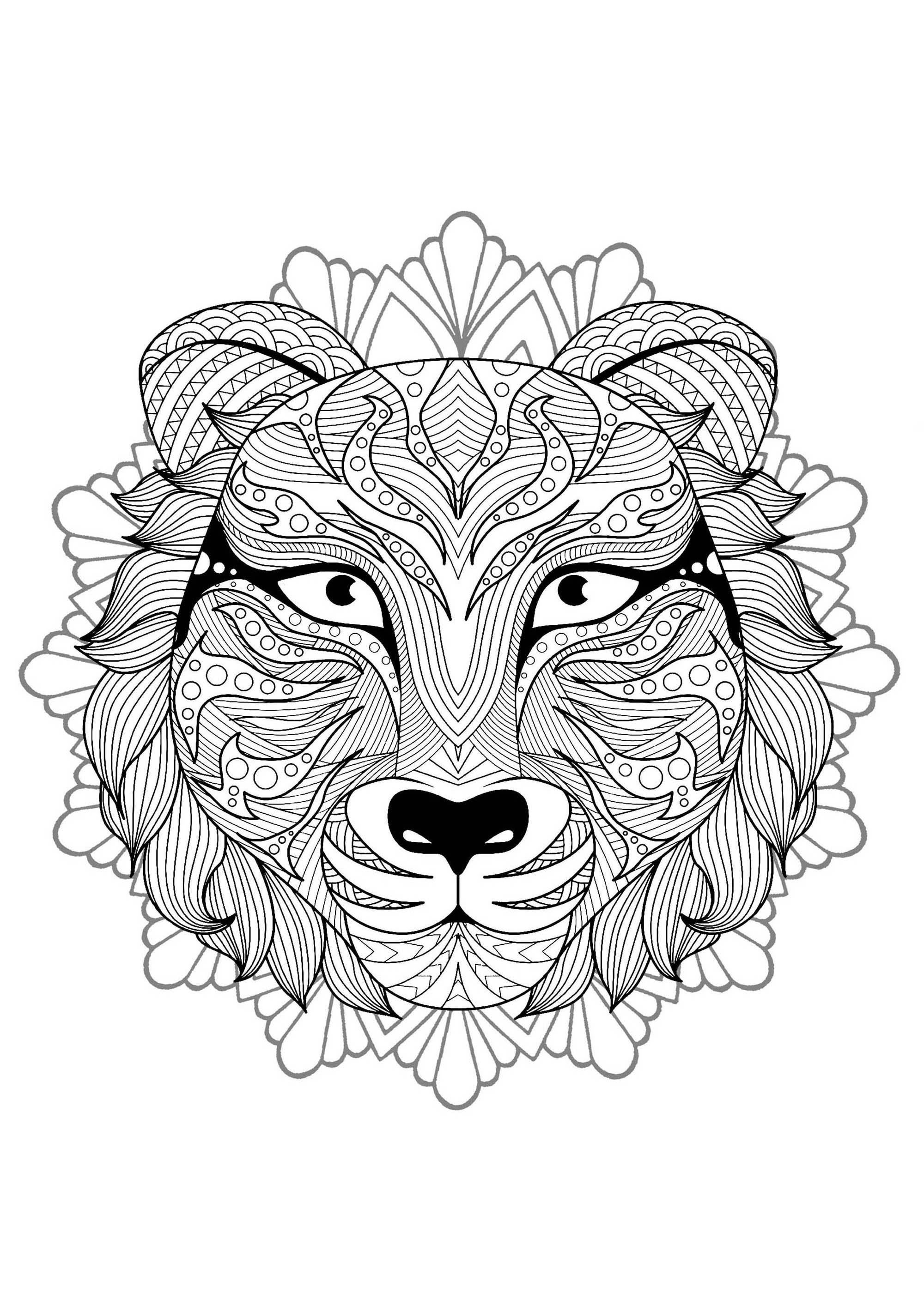 Mandala With Elegant Wolf Head And Floral Patterns M
