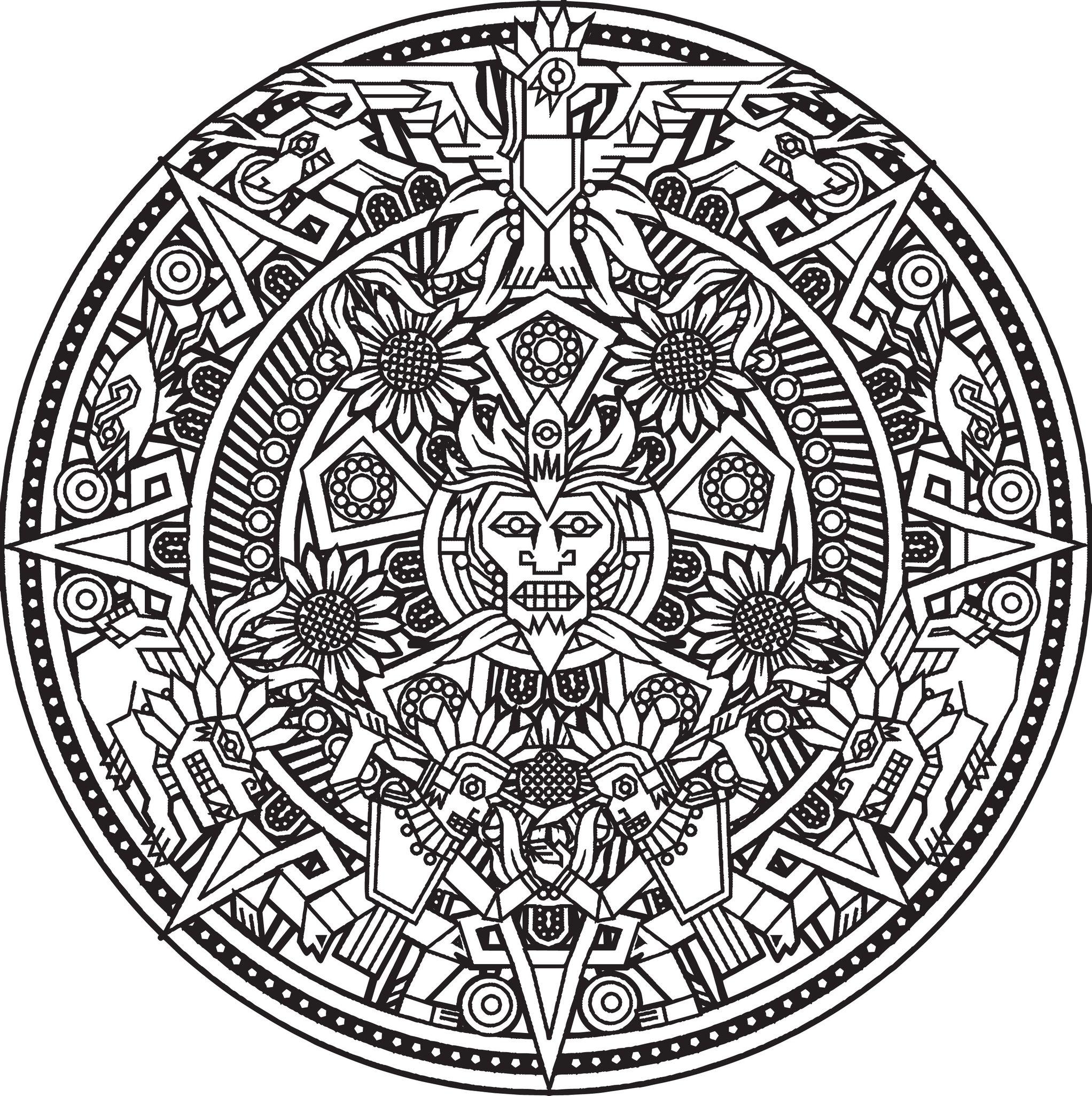 Mandala Inca Or Maya God To Color