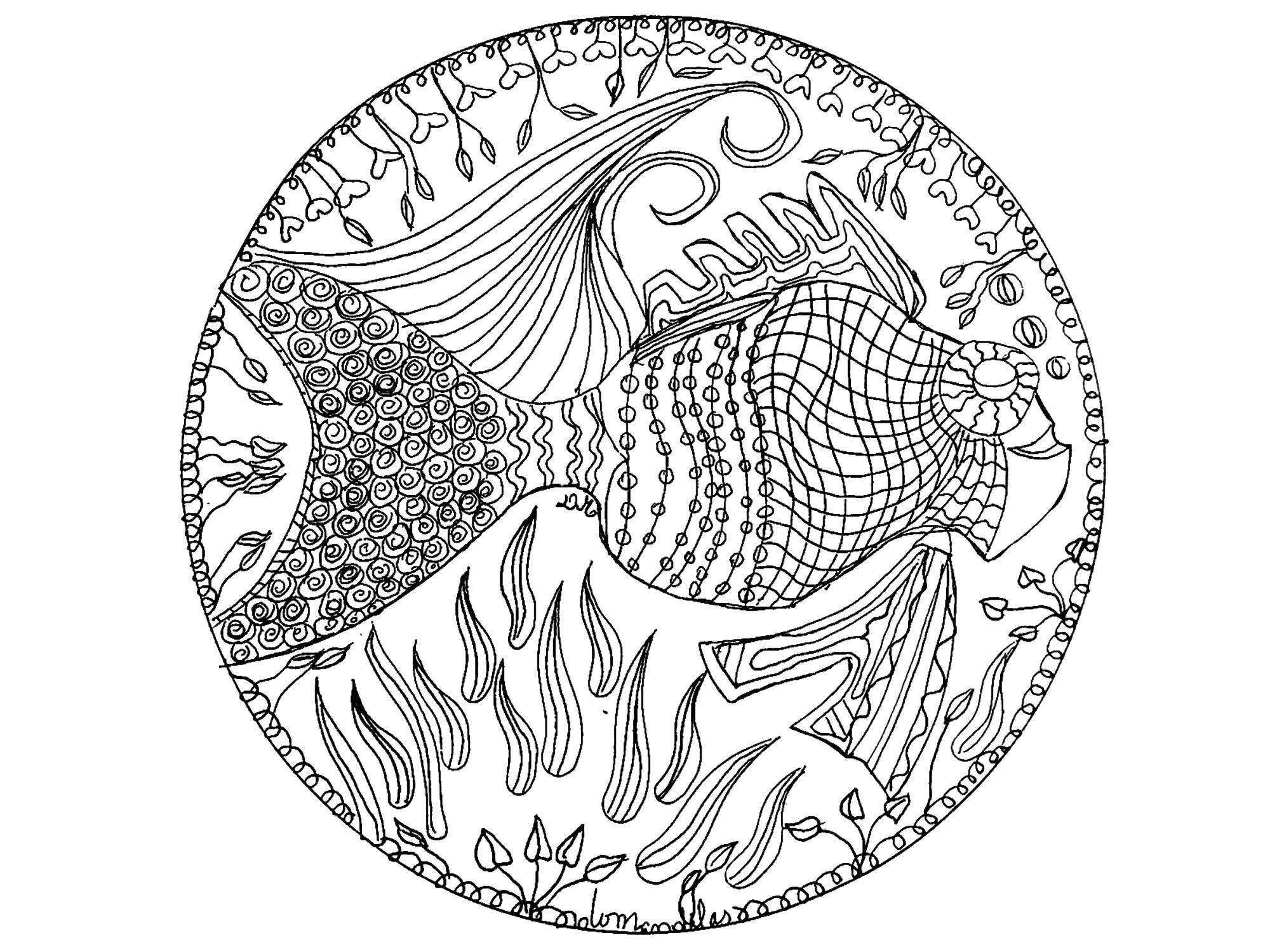 Mandala Fish Mandalas Coloring Pages For Adults Justcolor