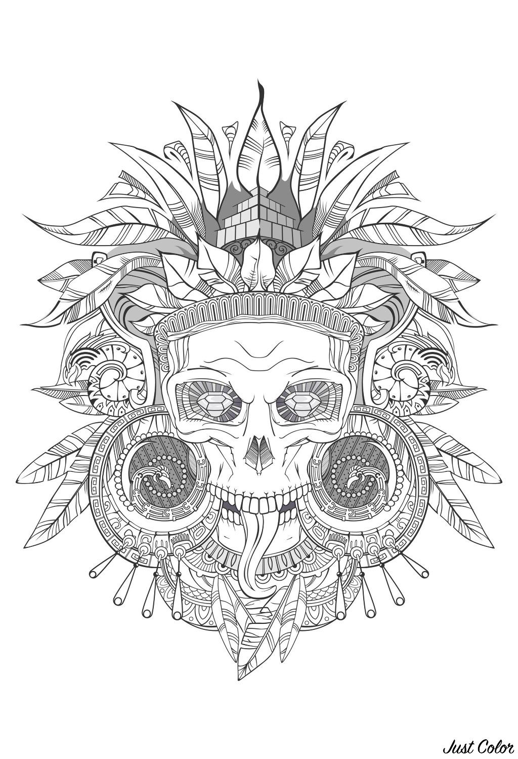 Aztec Skull Shades Of Grey