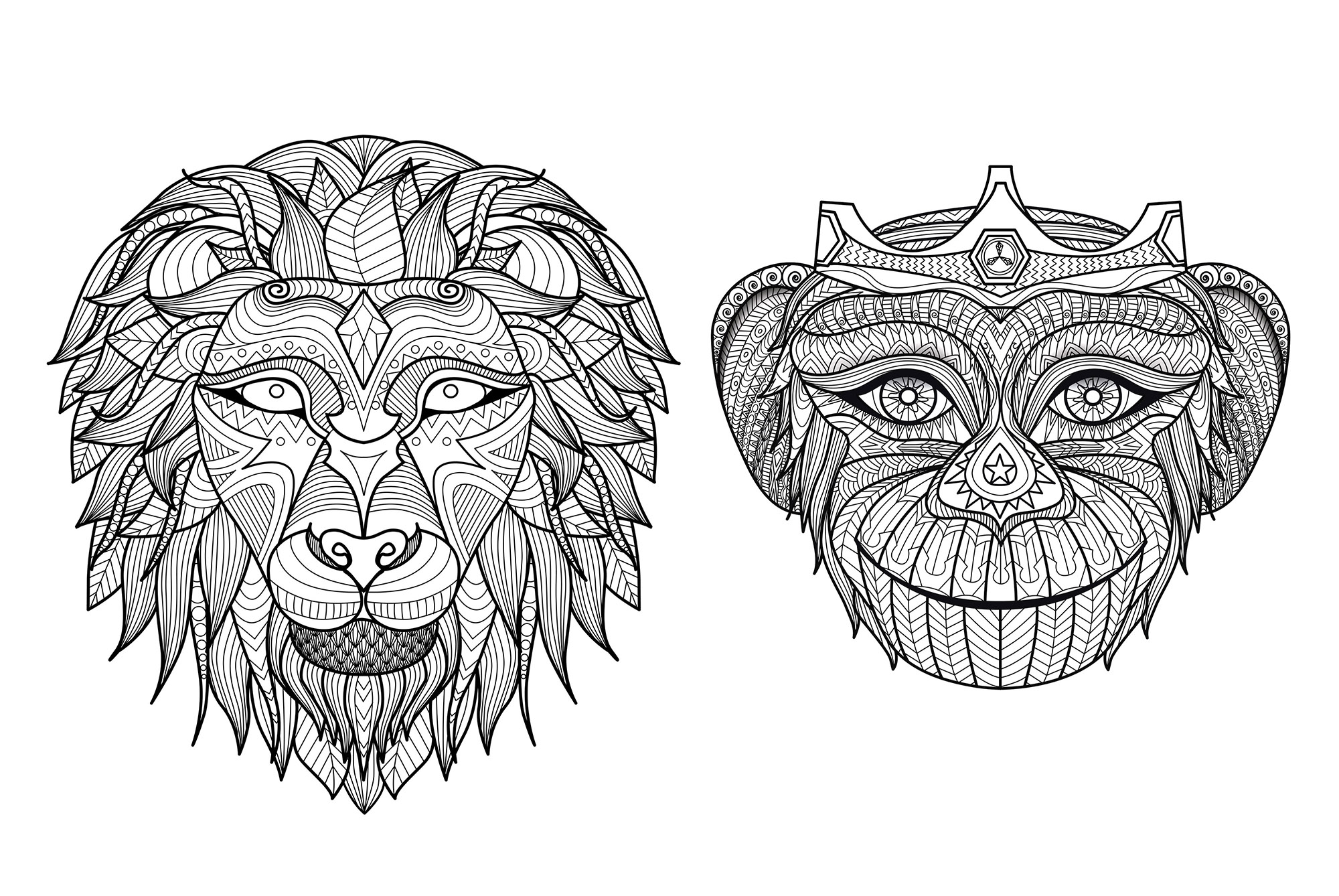 Heads Monkey Lion Monkeys Coloring Pages For Adults Justcolor