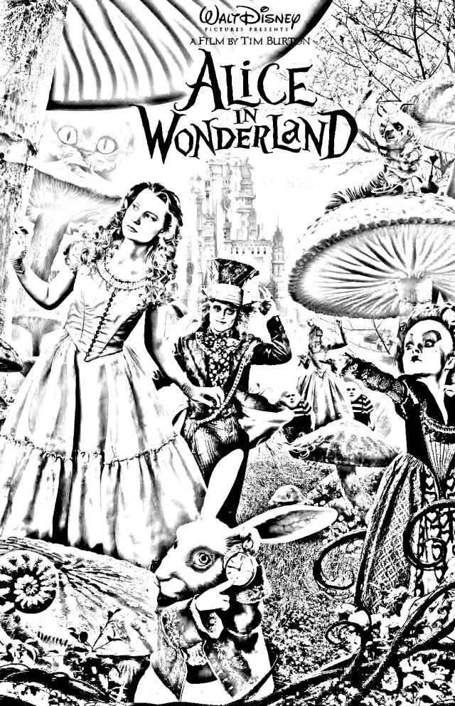 Movie alice tim burton - Art Adult Coloring Pages