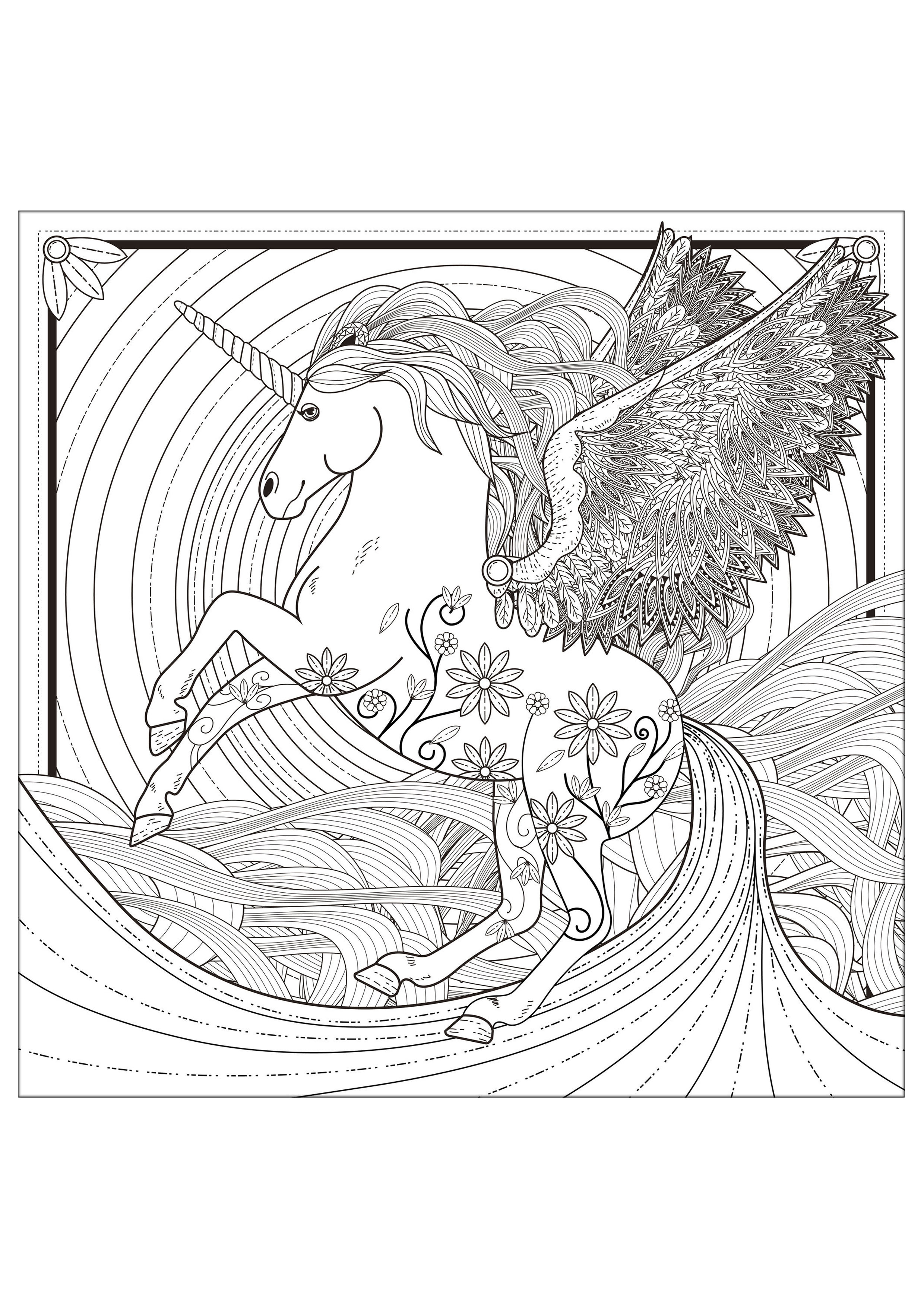 Unicorn Coloring Pages For Adults Justcolor