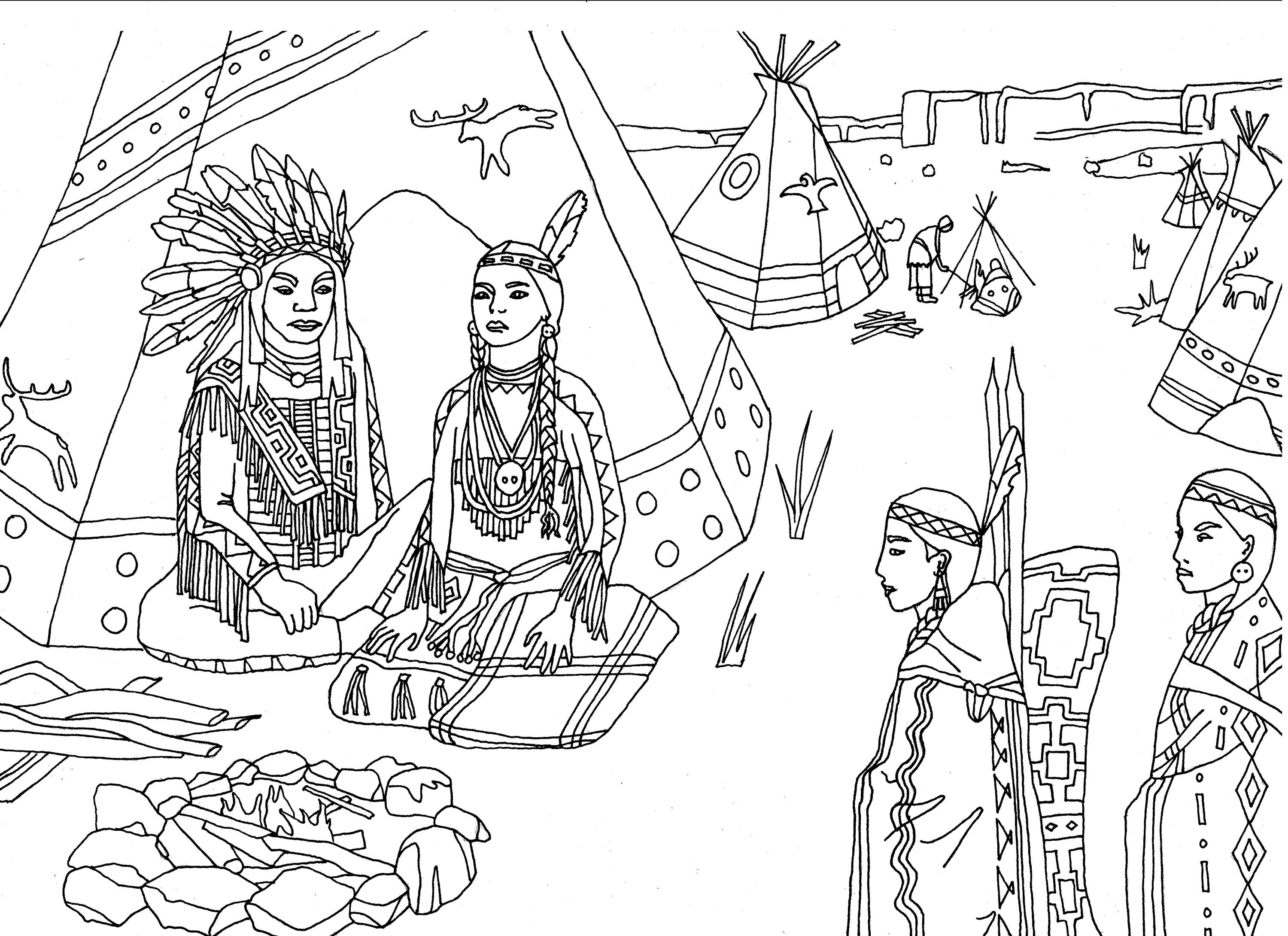 Native Americans Indians Sat Front Of Tipi
