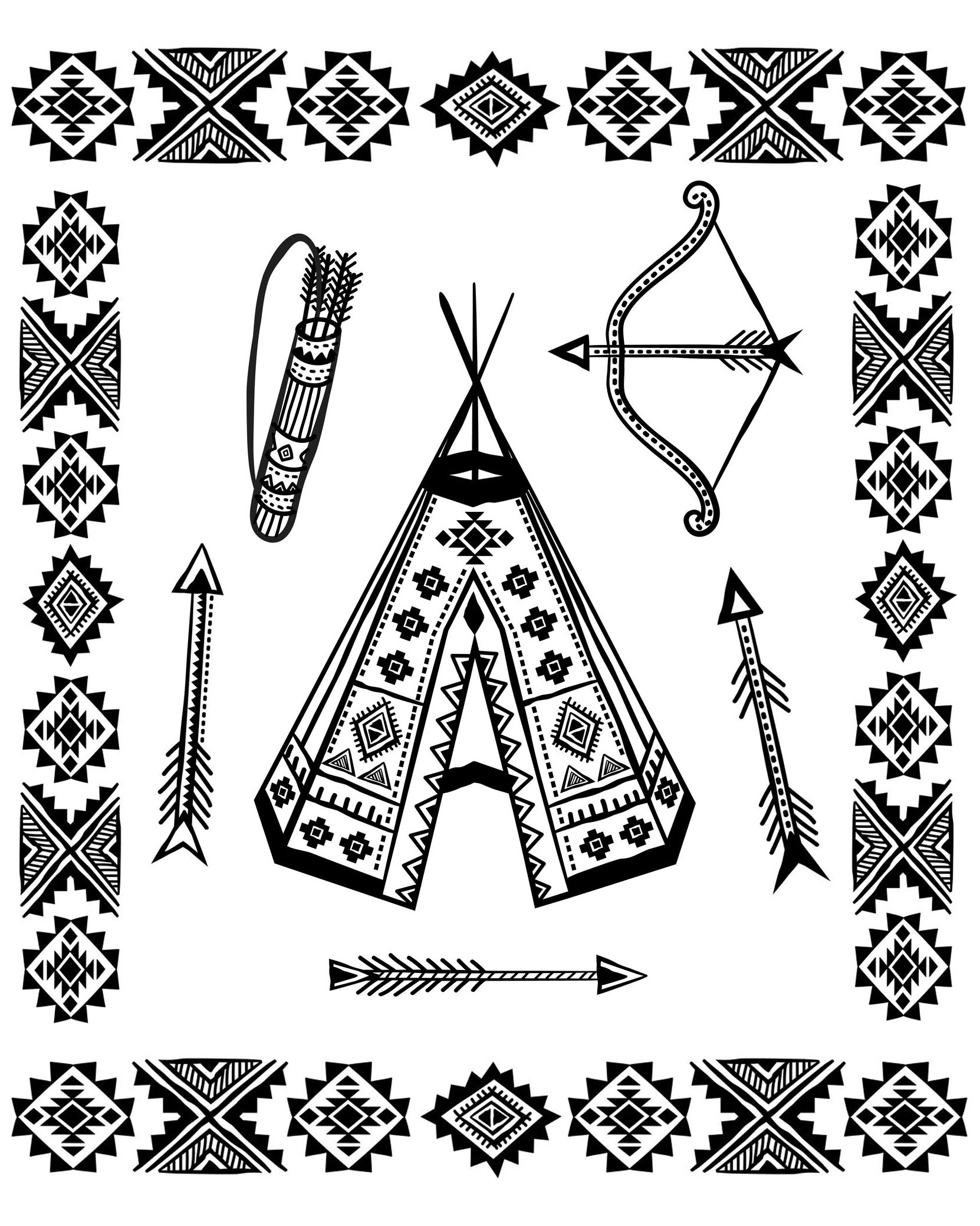 Native American Tipi And Symbols