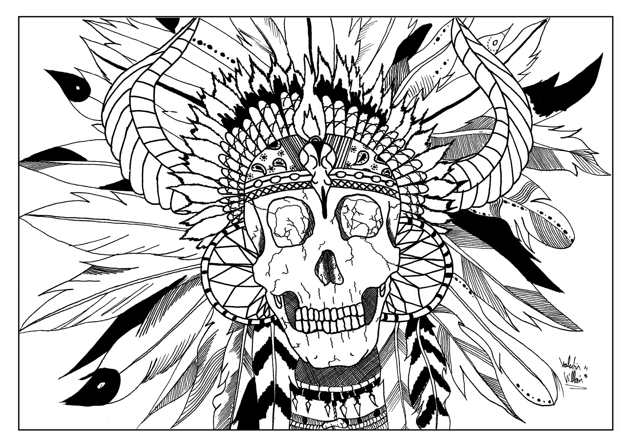 Skull Indian Par Valentin Native American Coloring Pages For