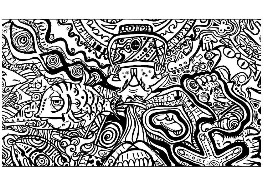 psychedelic fish and feet  psychedelic adult coloring pages