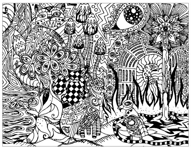 Psychedelic patterns hidden cat - Psychedelic Adult Coloring Pages