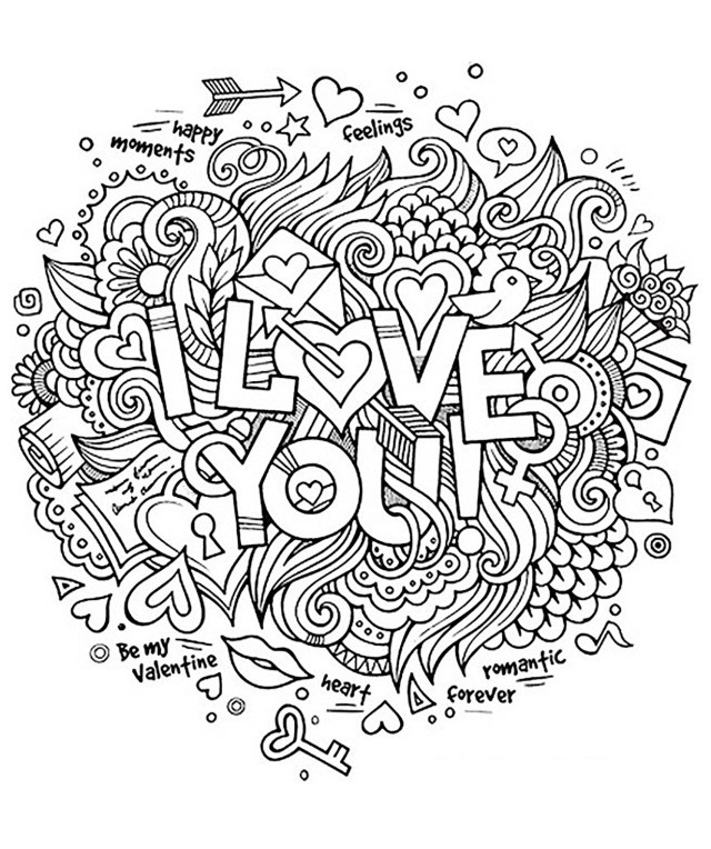I love you - Positive & inspiring quotes Adult Coloring Pages