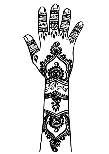 Tattoos   Coloring Pages for Adults Cute Arm and Hand Tattoo  Oriental    thick lines