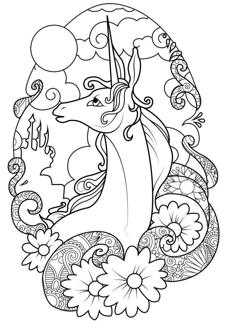 Fairy unicorn - Unicorns Adult Coloring Pages   free printable coloring pages for adults unicorns