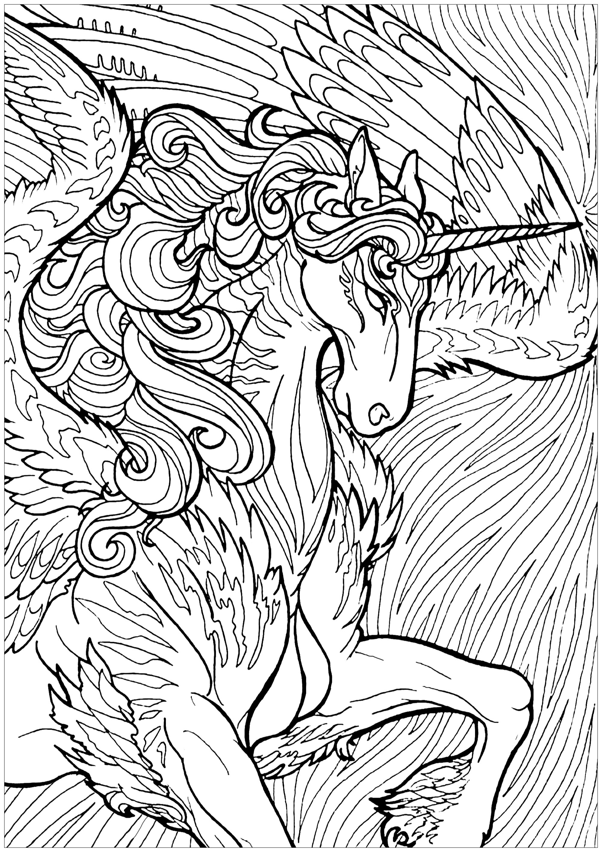 Unicorn With Wings And Background