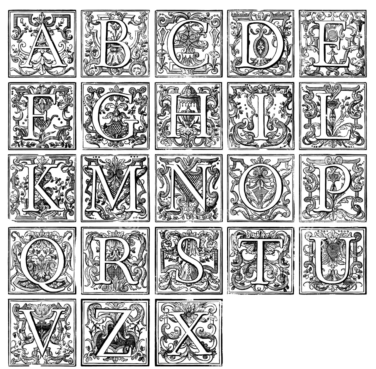 Alphabet Vintage Vintage Coloring Pages For Adults Justcolor