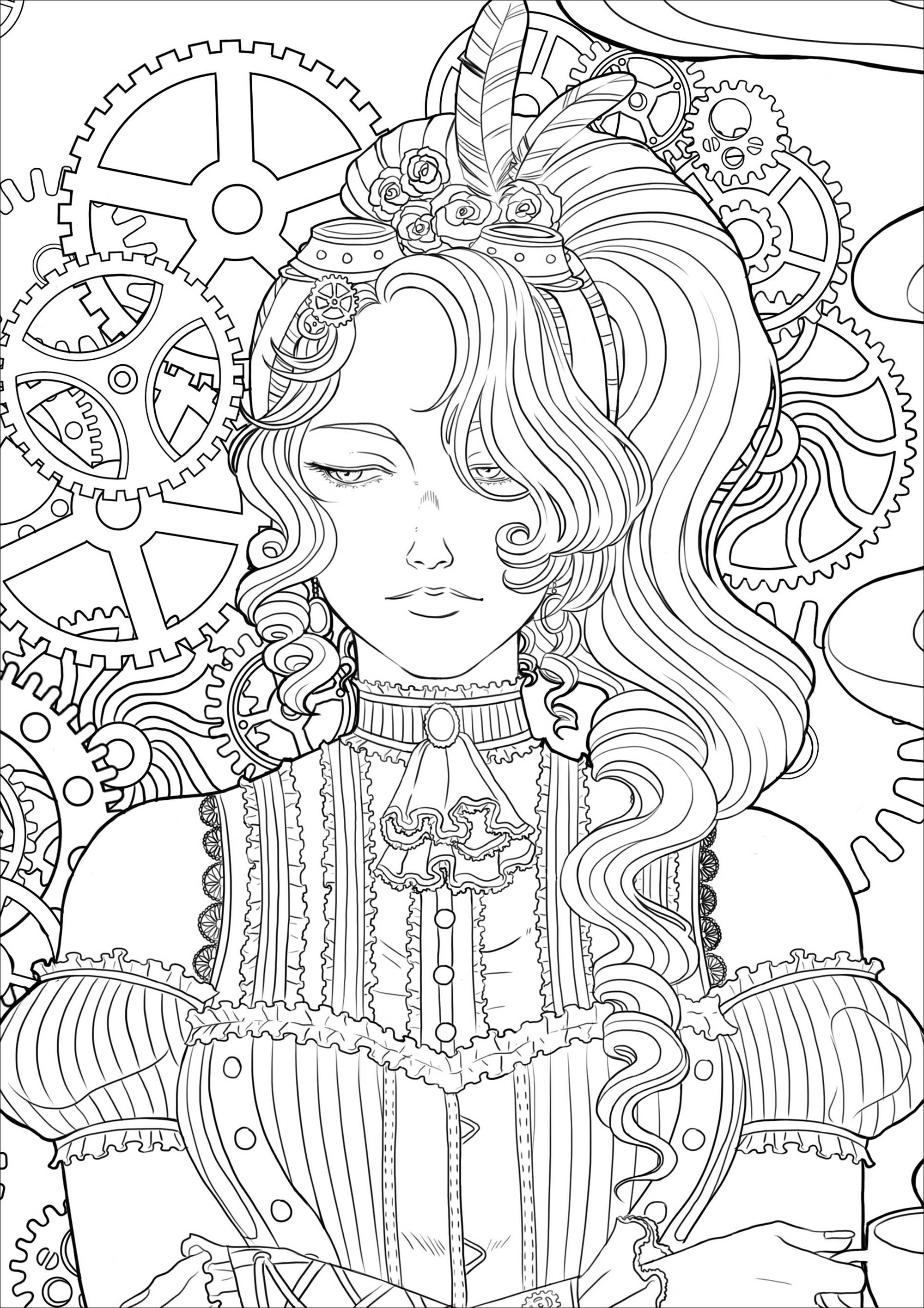 Steampunk Woman With Coffee Version 3