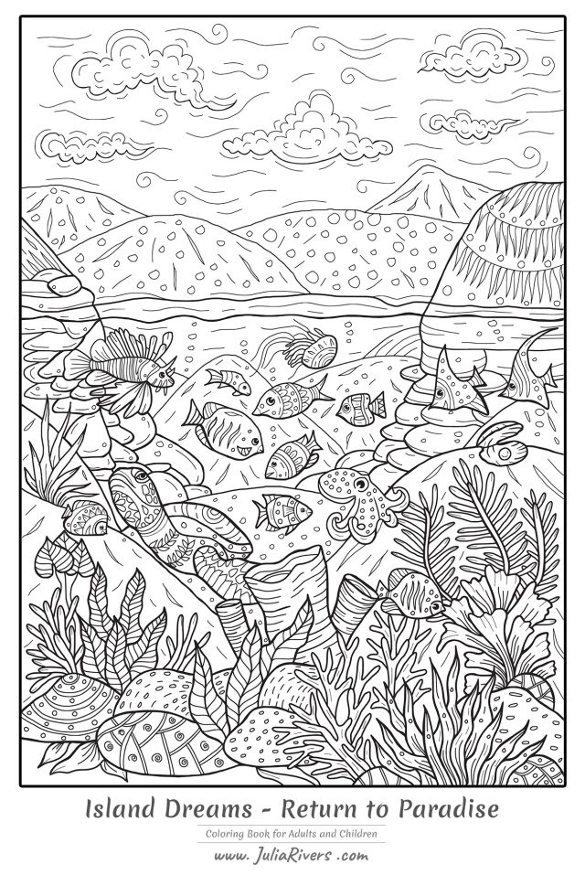 Island Dreams : Return to Paradise - Water worlds Adult Coloring Pages