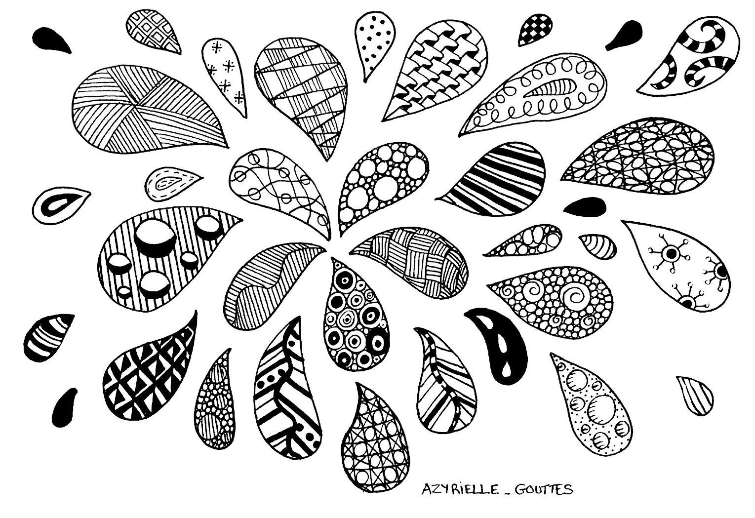 Zentangle Drops Zentangle Coloring Pages For Adults Justcolor