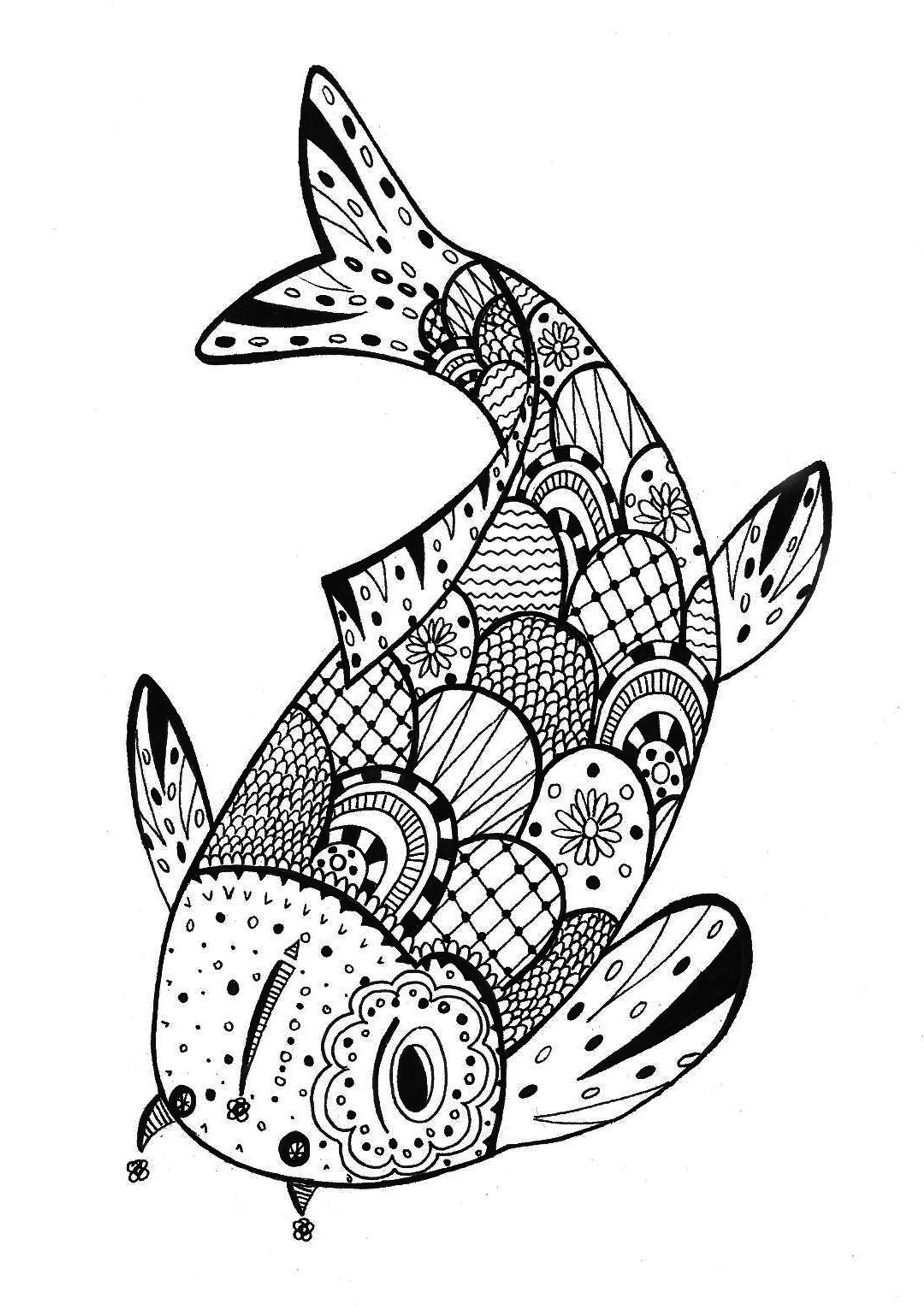 Fish Zentangle Rachel Zentangle Coloring Pages For Adults
