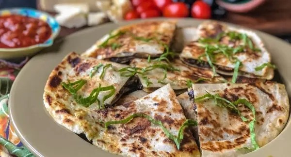 Make Ahead (and Freezable!) Grilled Eggplant and Asiago Quesadillas