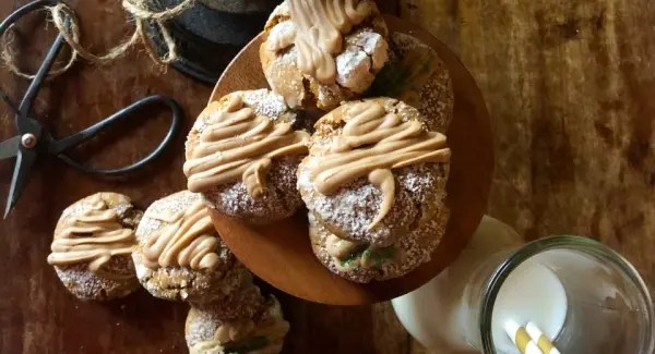 Gingerbread Crinkle Cookies with Salted Caramel Glaze