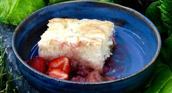 Strawberry Rhubarb Self Saucing Cake