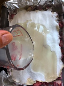 strawberry Rhubarb Self Saucing Cake