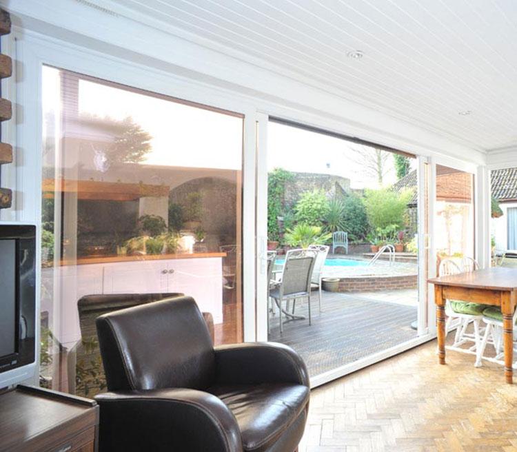 white 3 pane sliding patio doors