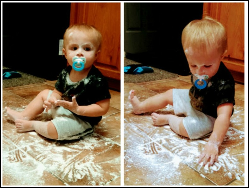 Let toddlers explore common cooking ingredients like flour. They'll learn about textures, smells and more!