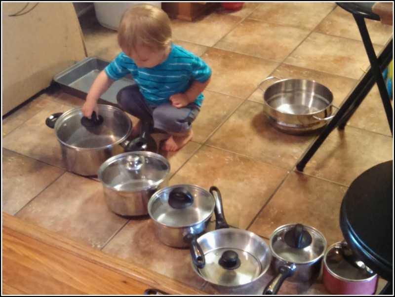 Toddlers can learn about kitchen tools with hands on exploration.