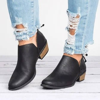 Shoes   Shop Fashion Styles Newly Shoes Online   JustFashionNow Plus Size Chunky Heel Short Boots Female Non slip Cute Bootie