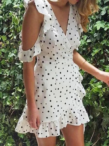 Winning Hearts White Polka Dots Flounce Dress