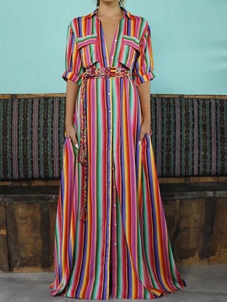 JustFashionNow Plus Size Shawl Collar Women Summer Dress A