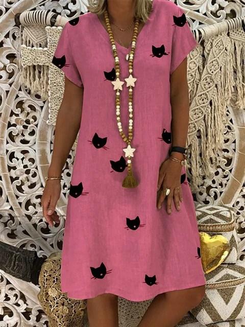Summer Dresses Women Casual Cotton Animal Shift V Neck