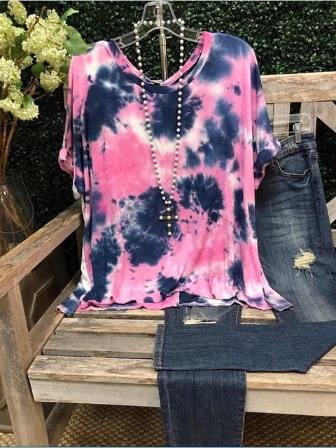 Casual Crew Neck Ombre/tie-Dye Short Sleeve T-Shirts ...