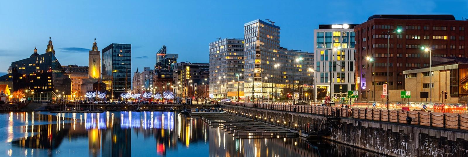 Liverpool docks cityscape at night