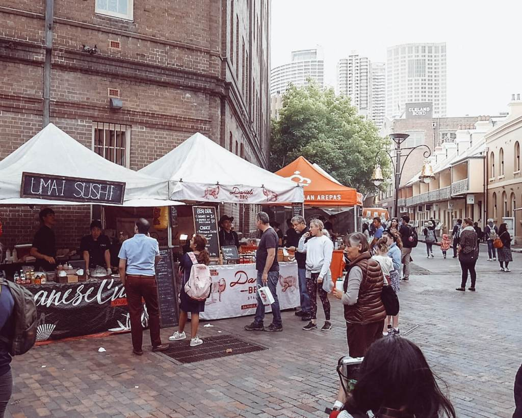 2 days in sydney, market stalls at the rocks quarter in sydney australia