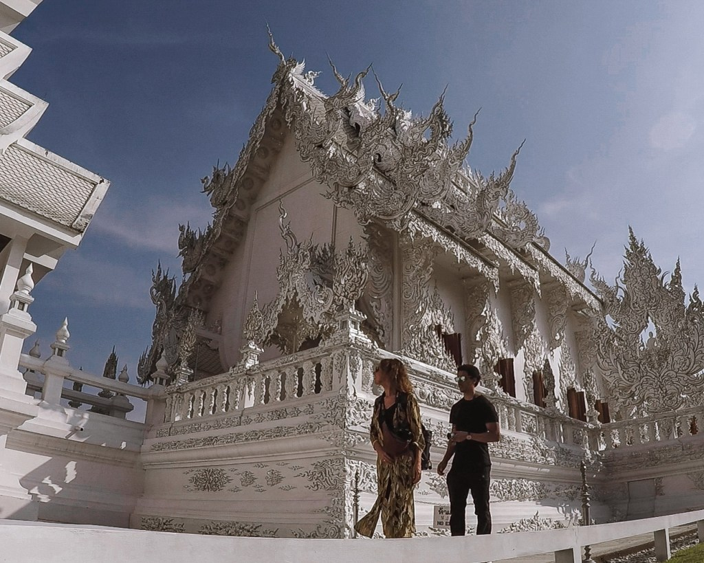 Kerrie and Woody at the White Temple in Chiang Rai Thailand