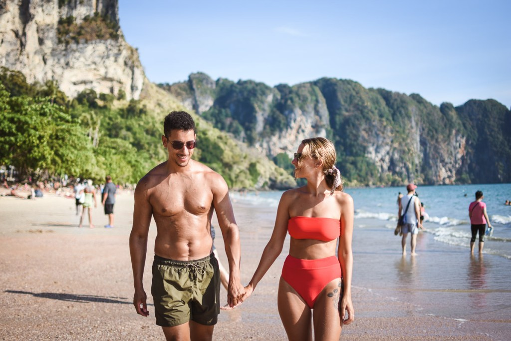 Ao-nang beach couple walking on the beach