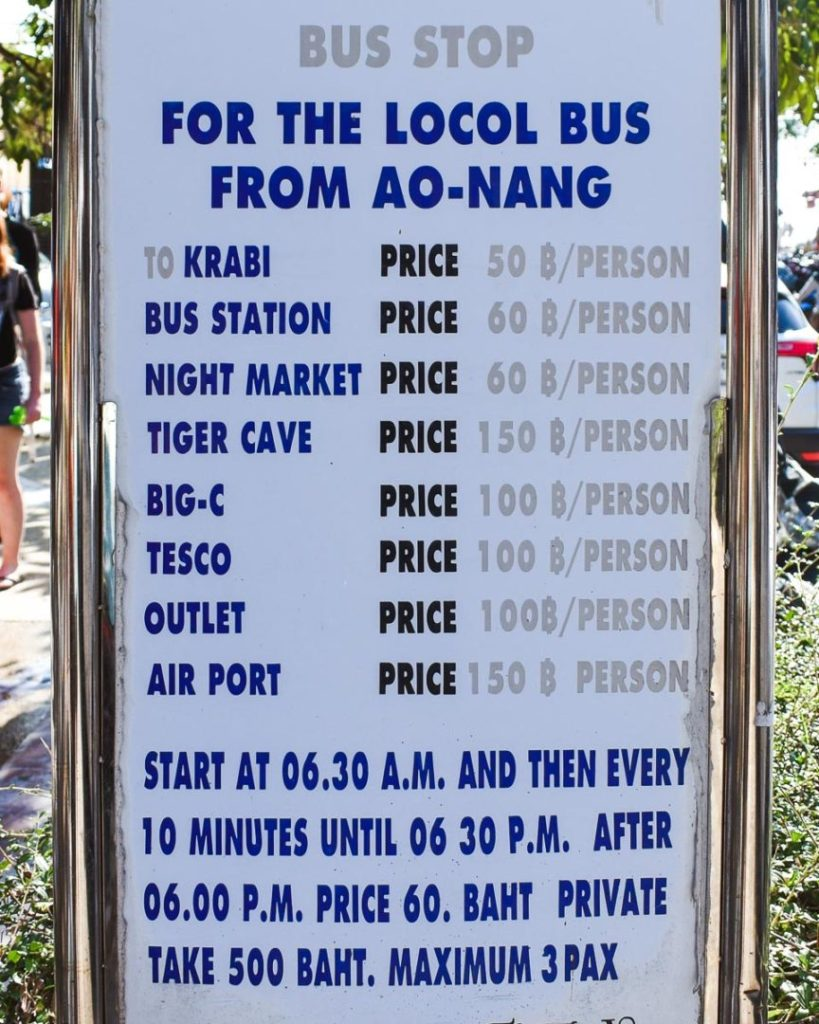 Bust stop for the local bus from ao-nang to Krabi