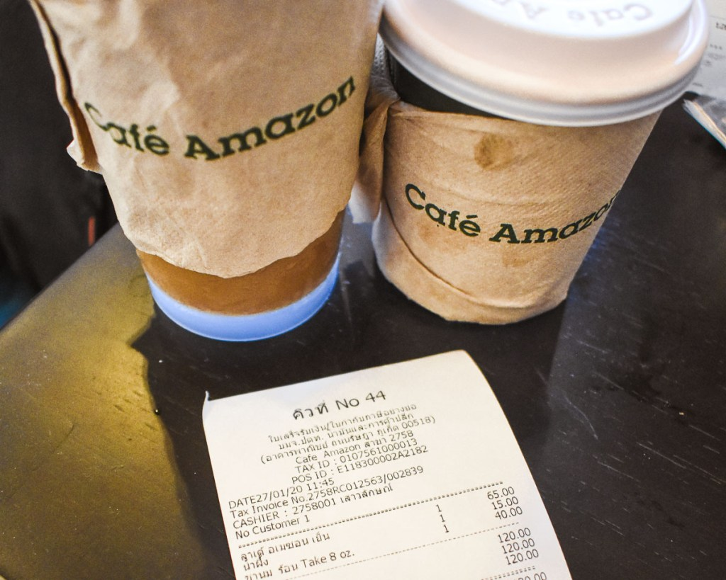 Cafe amazon drinks and receipt