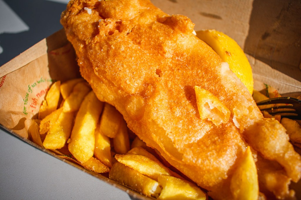 fish and chips from the Sydney fish market