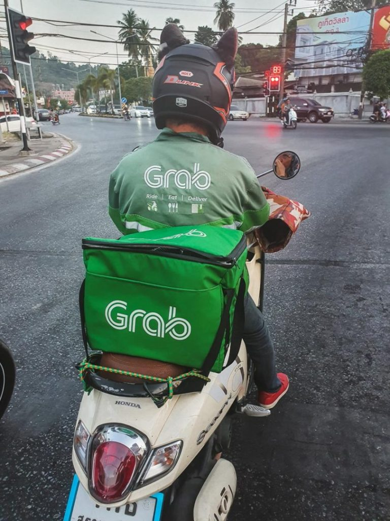 Grab bike and driver in Thailand
