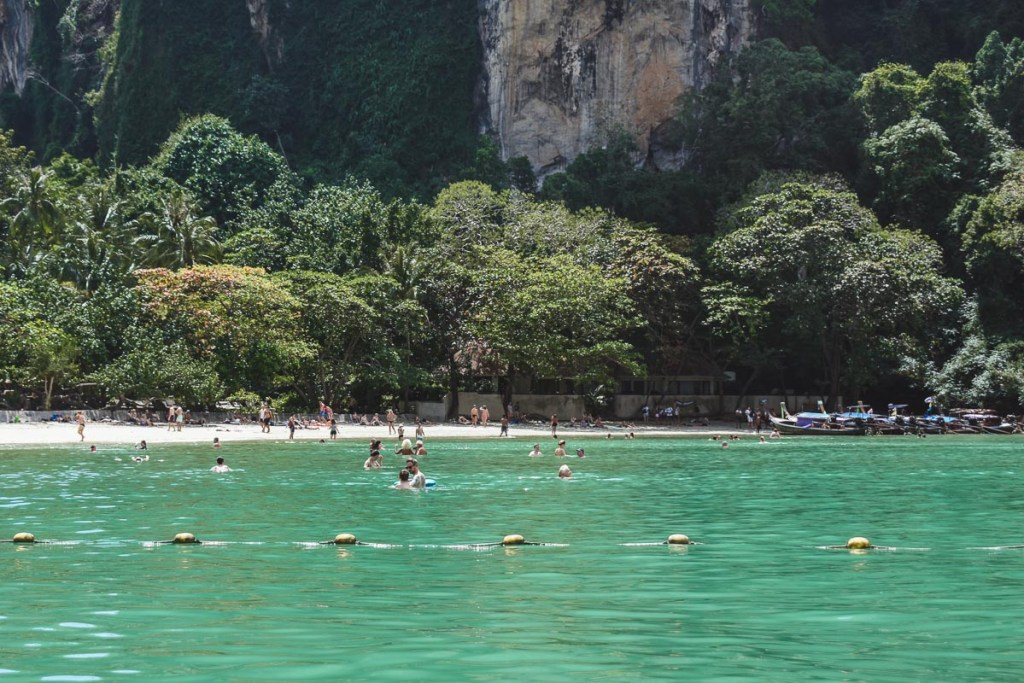 emerald waters at west railay beach in thailand