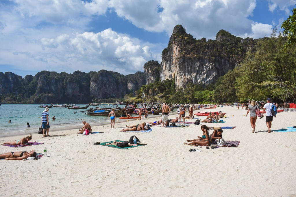 chilling on railay beach in Thailand