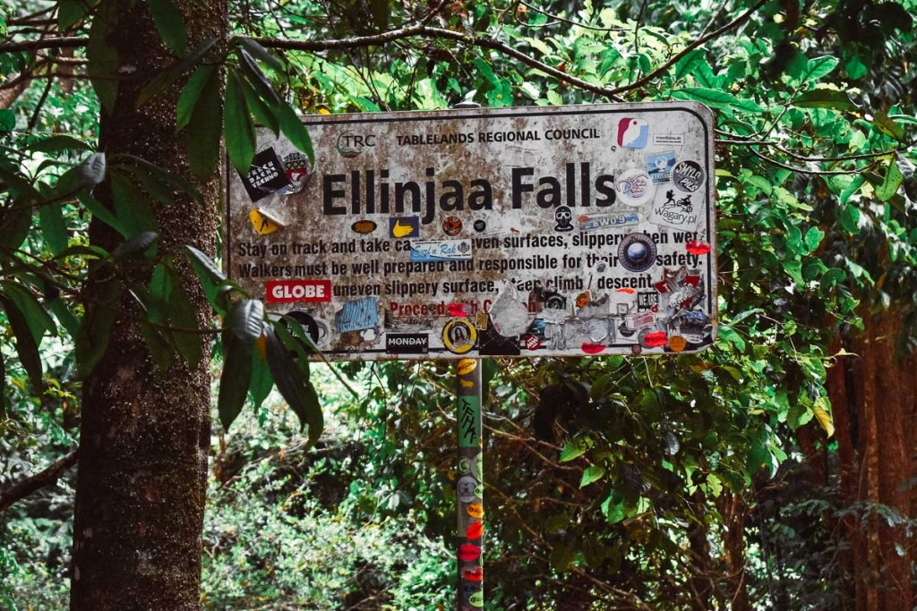 Ellinjaa Falls welcome sign