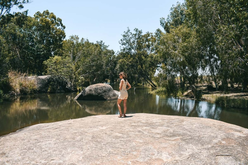 Kerrie at weir waters in the granite gorge nature park